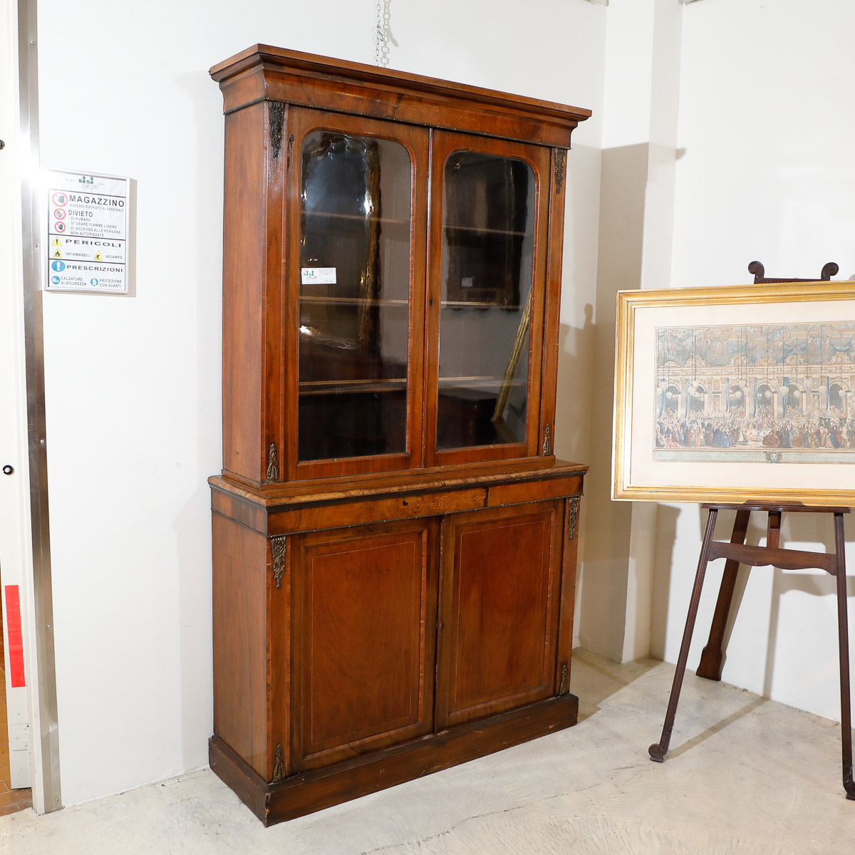 libreria vetrina fine 800 inglese mobili sisi antiquariato