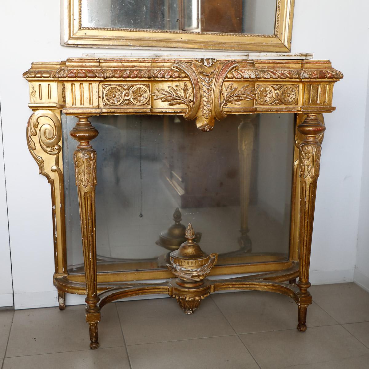 Consolle sagomata dorata con fioriera, Francia Luigi XVI | Mobili ...