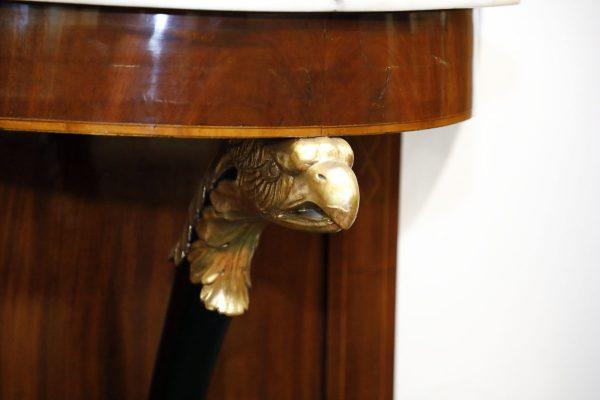 Consolle a mezzaluna e specchiera in mogano, Biedermeier - Consolle, Specchiere