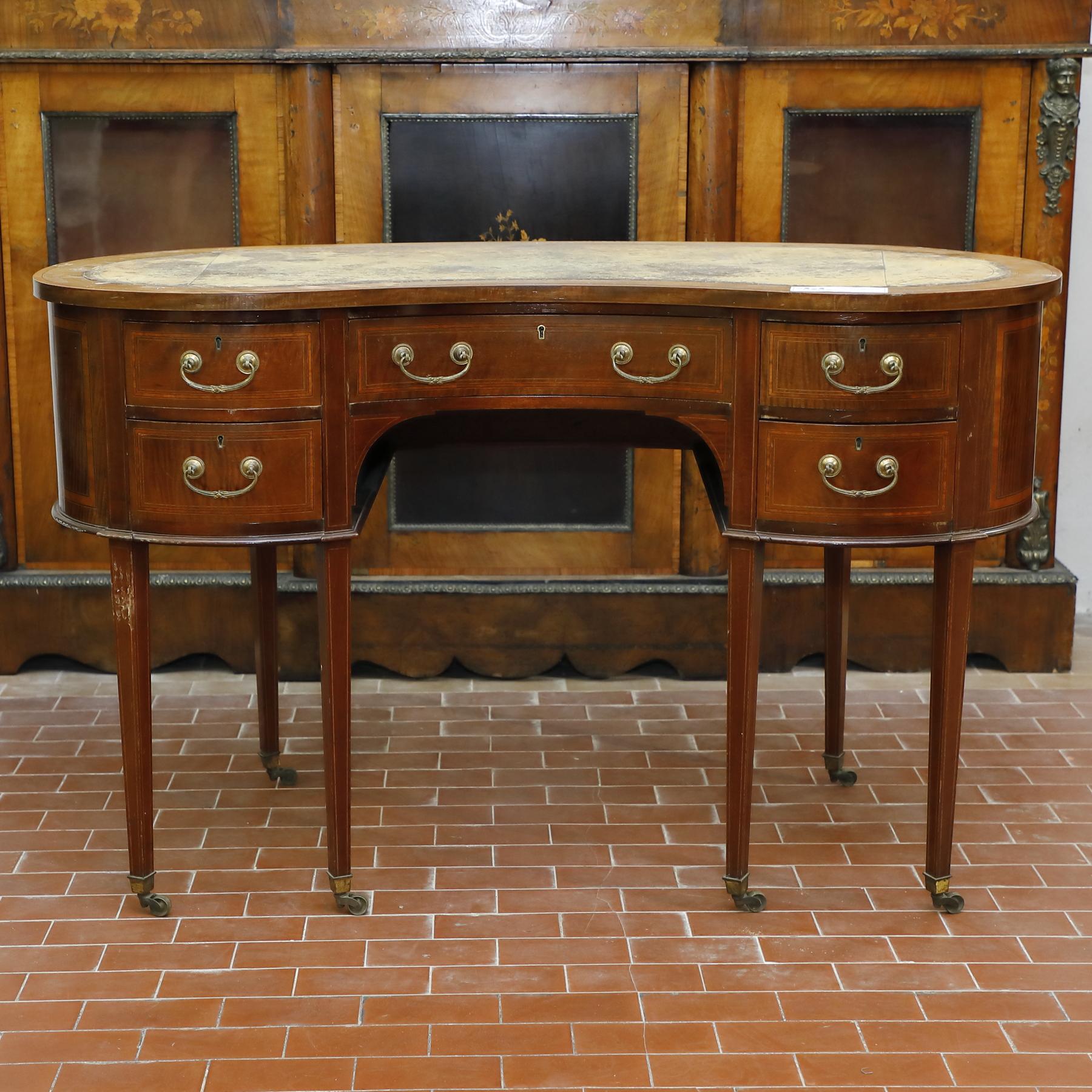 Tavolo scrittoio con due cassetti e piano in pelle - Tavoli e Scrittoi