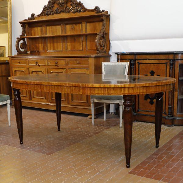 Tavolo ovale allungabile in zebrano e radica di olmo.Origine Francese ,epoca Napoleone III - Tavoli e Scrittoi